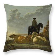 Peasants And Cattle By The River Merwede Throw Pillow