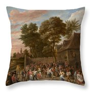 Peasants Dancing And Feasting Throw Pillow
