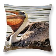 Pelican Catching A Fish Throw Pillow