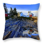 Pemaquid Point Light Reflections Throw Pillow