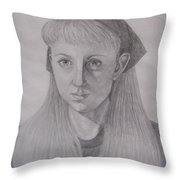 Pencil Self Portrait Throw Pillow