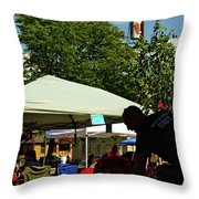 People At Food Event Throw Pillow