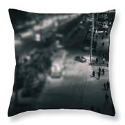 People At Night From Arerial View Throw Pillow