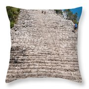 People Climbing Nohoch Mul At The Coba Ruins  Throw Pillow