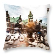People Cycling In Copenhagen Throw Pillow