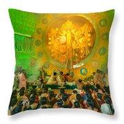 People Enjoying Inside Durga Puja Pandal Durga Puja Festival Throw Pillow