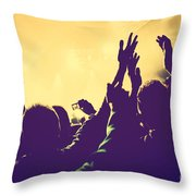 People With Hands Up In Night Club Throw Pillow