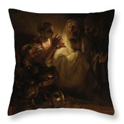 Peter's Denial Throw Pillow