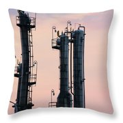 Petrochemical Plant Industry Zone Twilight Throw Pillow