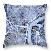 Philadelphia Pennsylvania City Street Map Throw Pillow