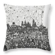 Philadelphia Skyline Map 4 Throw Pillow