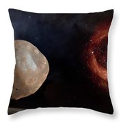 Phobos In The Space Over Mars Throw Pillow