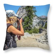 Photographer In Yosemite Waterfalls Throw Pillow