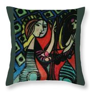 Picasso's Girl Beside A Mirror Throw Pillow