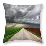 Pick A Side - Colorful Fields Divided By Road On Stormy Day In Oklahoma. Throw Pillow