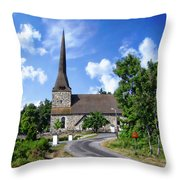 Picturesque Rural Church Throw Pillow