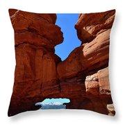 Pikes Peak Through Natural Window Throw Pillow