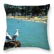 Pilot Bay Beach 4 - Mount Maunganui Tauranga New Zealand Throw Pillow