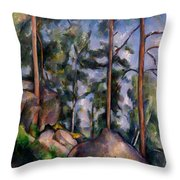 Pines And Rocks Throw Pillow