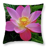 Pink Blooming Lotus Throw Pillow