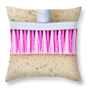 Pink Broom Throw Pillow
