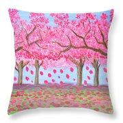 Pink Garden, Oil Painting Throw Pillow
