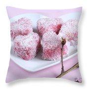 Pink Heart Shape Small Lamington Cakes Throw Pillow