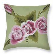 Pink Miniature Roses Throw Pillow