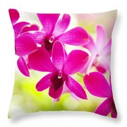 Pink Orchid Lei Throw Pillow
