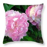 Pink White Peonies  Throw Pillow