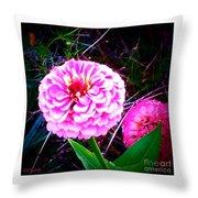 Pink Zinnia's Throw Pillow