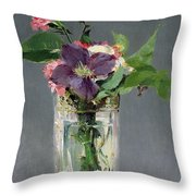 Pinks And Clematis In A Crystal Vase Throw Pillow