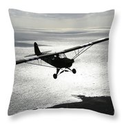 Piper L-4 Cub In Us Army D-day Colors Throw Pillow
