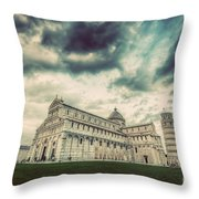 Pisa Cathedral With The Leaning Tower Of Pisa, Tuscany, Italy. Vintage Throw Pillow