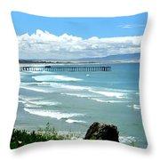 Pismo Beach Pier Panorama Throw Pillow