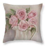 Pitcher Of Roses Throw Pillow