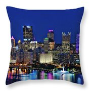 Pittsburgh Night Skyline Throw Pillow