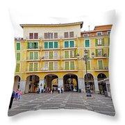 Placa Mayor In Palma Majorca Spain Throw Pillow