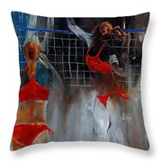 Playing Volley Throw Pillow