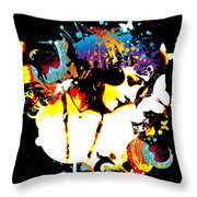 Poetic Peacock - Bespattered Throw Pillow