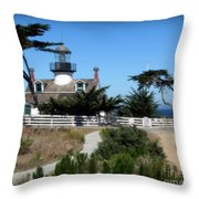 Point Pinos Lighthouse In Pacific Grove, California Throw Pillow