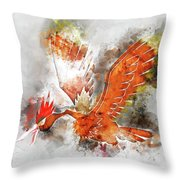 Pokemon Fearow Abstract Portrait - By Diana Van   Throw Pillow