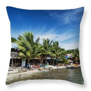 Polluted Dirty Beach With Garbage Rubbish In Koh Rong Island Cam Throw Pillow