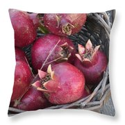 Pomegranates In A Basket Throw Pillow