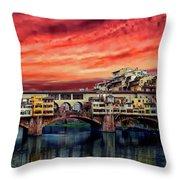 Ponte Vecchio Bridge Throw Pillow