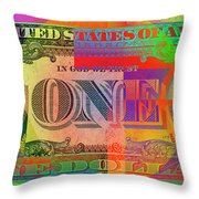 Pop-art Colorized One U. S. Dollar Bill Reverse Throw Pillow