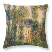 Poplars At Giverny, Sunrise Throw Pillow