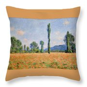Poppy Field In Giverny  Throw Pillow