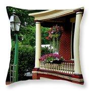 Porch With Hanging Plants Throw Pillow