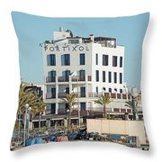Portixol Marina Moored Boats Throw Pillow
